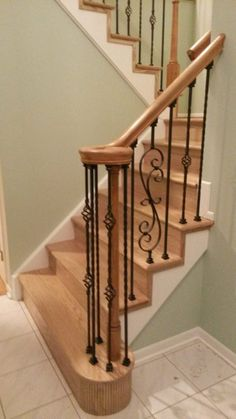 Our wrought iron balusters offer a metal stair railing solution with easy installation. Our Balusters, AKA stair spindles feature quality designs & fast delivery. Stained Staircase, Stairs Balusters, Metal Stair Railing, Wrought Iron Stair Railing, Iron Balusters, Stair Treads, Bannister, Stair Supplies, Banister Remodel