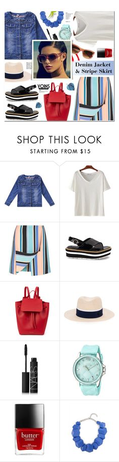 """Denim Jacket & Stripe Skirt-Yoins 15"" by anyasdesigns ❤ liked on Polyvore featuring Opening Ceremony, Mansur Gavriel, Maison Michel, NARS Cosmetics, Juicy Couture and Jaeger"