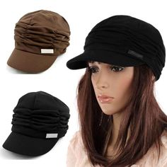 c93e27f5c39 Korea Fashion Sweet Women Pleated Layers Beret Beanie Hat Peaked Brim Visor  Cap