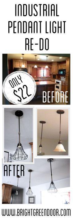 www.BrightGreenDoor.com DIY Industrial Pendant Cage Light for only $22 each!