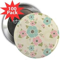 "Nostalgic flowers 2.25"" Button (100 pack) Beige seamless vintage pattern ""Nostalgic flowers""  $129.99"