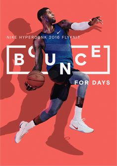 Nike Bounce poster type and image with beaut bright background