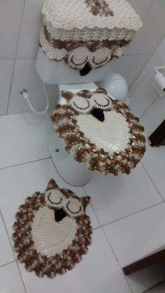 Crochet rug elephant patterns 48 new ideas Owl Crochet Patterns, Crochet Owls, Owl Patterns, Crochet Home, Easy Crochet, Knit Crochet, Crochet Flower Tutorial, Crochet Flowers, Owl Bathroom