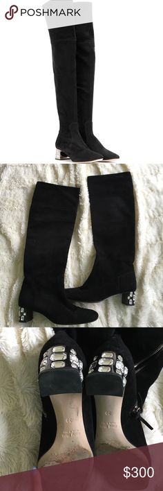 Knee high embellished suede Miu Miu Threat condition boots. Soft suede. Embellished on the heel. Very cute style. Miu Miu Shoes Over the Knee Boots