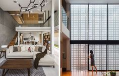 Fabulous chandelier!!  This house lets light in, but maintains privacy, with a large screen wall
