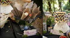 Squirrel nut mix (trail mix), butterflies on sticks and mushrooms to decorate,