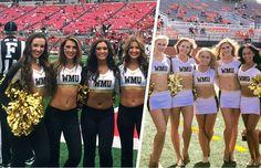 Western Michigan University Dance Team in custom uniforms Dance Team Uniforms, Cheer Pom Poms, Western Michigan University, Professional Cheerleaders, Football Cheerleaders, Cheerleading Outfits, Sport Girl, Dance Costumes, Billionaire Lifestyle