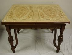 Gold and brown enamel top table.