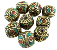 Red and turquoise pressed stones, brass, lead free. Measures 20 mm inches) x 19 mm inches). 1 piece per package. Made in Nepal, ships from Florida Polymer Clay Canes, Polymer Clay Pendant, Clay Beads, Beading Supplies, Jewelry Making Supplies, Artist Supplies, Handcrafted Jewelry, Handmade, Gourd Art