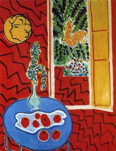 'Red Interior: Still Life on a Blue Table' Henri Matisse. Still Life with a Head by Henri Matisse. Henri Matisse, Matisse Art, Op Art, Matisse Pinturas, Matisse Paintings, Post Impressionism, Art Moderne, Red Interiors, French Artists