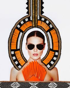 Sass & Bide, a brand that we know and love for its certain bold, edgy yet feminine polish, takes a cue from many trends we have seen of late for a DIY, cut out, tribal embellished, eyewear brand campaign, using signature bright hues and textural trimmings to show off their Ladysaint eyewear line