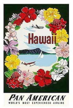 hawaii,pan american airlines,flowers,floral,lei,diamond head,crater,vintage hawaiian travel poster,amspoker,dugout,hula,hawaiian,luau,hula,vintage travel poster,retro,poster art,vintage advertising,vintage travel,