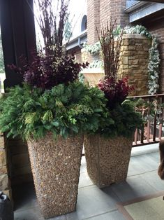 Contemporary pots at front entrance.