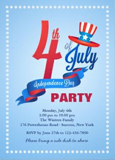 Happy blue #4th_of_July party invitations.