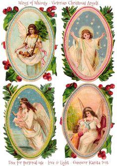 Vings of Whimsy: Victorian Christmas Angels #freebie #printable #ephemera #victorian #angel #christmas