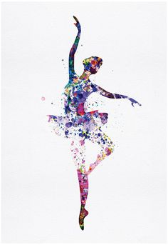 ballerina dancer watercolor (artwork by Irina March)