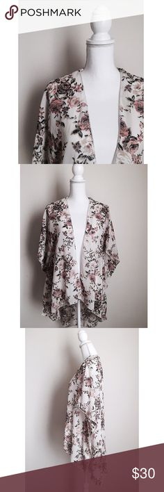 Gorgeous Floral Kimono Neutral roses kimono - Classic & feminine ⚜ Perfect for any outfit dressed up or dressed down ✨ Size large but as with most kimonos one size fits most. Tops