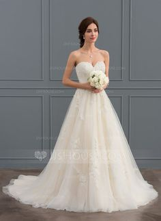 [US$ 231.00] Ball-Gown Sweetheart Court Train Tulle Wedding Dress With Ruffle Beading