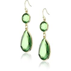Flying Lizard Designs Faceted Green Resin Stone Earrings ($48) ❤ liked on Polyvore