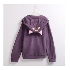 Sailor Moon Luna Artemis Cat Ears Hooded Coat ❤ liked on Polyvore featuring outerwear, coats, purple coats, sweater pullover and purple pullover