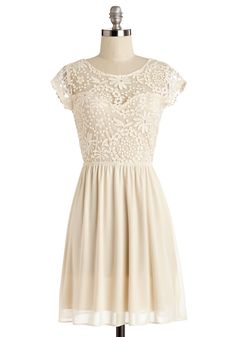 All in Awe Dress. With the musics cue, the crowd turns their attention toward the end of the aisle where you stand in this dainty cream dress.