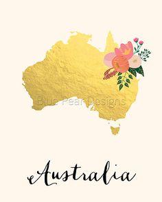 Australia Map Australia Art Australia Poster by WhitespaceAndDaisy