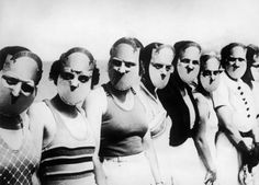 Actual participants of the Miss Lovely Eyes Contest held in Florida in 1930. I'm kinda thinking it was also the visual blueprint for Hannibal Lecter's face mask! Eeesh!