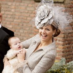 Princess Máxima | The Royal Hats Blog | By the end of her first five years as Princess of Orange, Maxima's style was certainly bold and dramatic. When I think of this time of hat fashion for her, I think of the three hats she wore for the christening of her daughters. Each hat becomes a little more avant-garde and glamorous than the last. I think that's what happened to Maxima's hat style overall during this period as well.