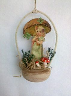 Mushroom girl by Karen Hendrix Victorian Christmas Ornaments, Old World Christmas, Christmas Paper, Christmas Love, Christmas Wrapping, Homemade Christmas, Holiday Ornaments, Christmas Projects, Vintage Christmas