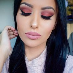 pink and coral eyes with brown crease