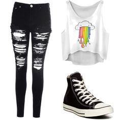 Untitled #10 by emdecocq on Polyvore featuring polyvore, fashion, style, Glamorous and Converse
