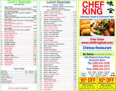 Chef King in Bushnell's Basin, NY has coupons for Chinese cuisine! Save on your meal purchase now! chefkinggreece.com/menu.asp