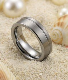 8MM Grooved & Brushed Tungsten Carbide Wedding Ring - Tungsten Carbide