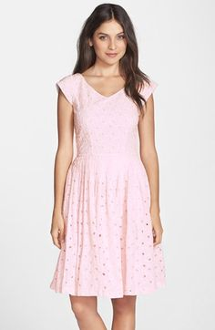Kaya & Sloane Eyelet Cotton Lace Fit & Flare Dress available at #Nordstrom