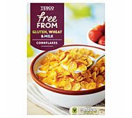 Gluten free corn flakes fortified with vitamins and iron. Tesco Groceries, Corn Flakes, Slimming World, Cereal, Oatmeal, Vitamins, Gluten Free, Breakfast, Recipes