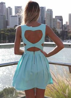 Blue Heart Cutout Dress with Fitted Bodice & Pleated Skirt, Dress, mini dress heart cutout dress, Chic