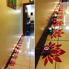DIY Diwali rangoli design using a paper cut out and poster colours!! Indiandecor, Indianfestival, Festival of Lights, lamps, Diwali decor ideas, lotus theme Diwali