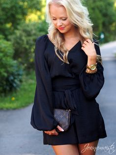 Black Satin Playsuit