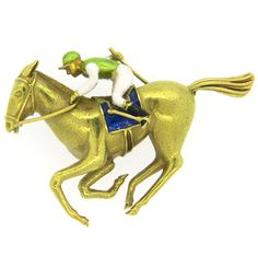 Enamel Gold Horse and Jockey Brooch Pin | From a unique collection of vintage brooches at https://www.1stdibs.com/jewelry/brooches/brooches/