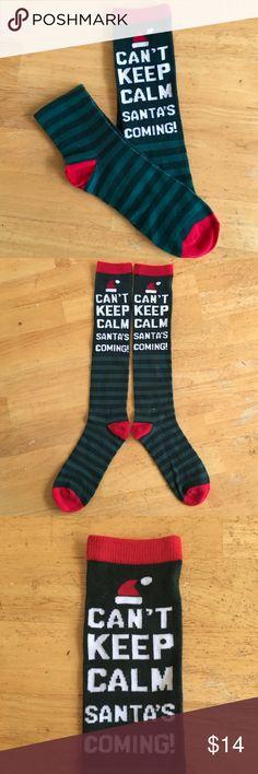 "🆕Listing ""Santa's Coming"" Socks 🎅🏼Green Stripe & Red ""Santa's Coming"" Socks. Length of sock is 13"" from heel.                                🚫No Lowball Offers, Please!🚫 Accessories Hosiery & Socks"