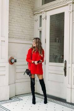 10 vestidos y faldas con botas largas perfectos para Navidad y Año Nuevo   Mujer de 10 Red Dress Outfit, Sweater Dress Outfit, Knit Dress, Sweater Dresses, Dress Outfits, Dress Boots, Maxi Dresses, Dress Clothes, Sweatshirt Dress