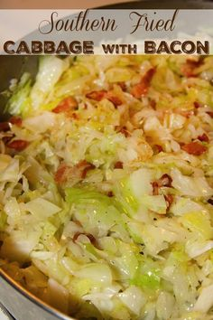 New Years Fried Cabbage- an easy side dish of sauteed cabbage. New Years Fried Cabbage- an easy side dish of sauteed cabbage with bacon and onions Southern Fried Cabbage, Bacon Fried Cabbage, Sauteed Cabbage, Baked Cabbage, Fried Cabbage And Potatoes, Buttered Cabbage, Cabbage And Noodles, Steamed Cabbage, Cabbage Steaks