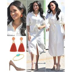 "The British Royal Family on Instagram: ""2 October 2019 Outfit 1 Dress: Hannah Lavery Tencel Shirt Dress (R 1,300) Earrings: Madewell Red Stone & Tassel Earrings (US$32) Shoes:…"" Meghan Markle Outfits, Meghan Markle Style, Princess Meghan, Prince Harry And Meghan, Royal Dresses, Royal Engagement, Royal Fashion, Costume Dress, Duke And Duchess"