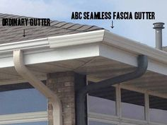 Check out the difference between our Fascia style Gutter & a regular K style Gutter.  Ours holds 1/3 more water, carrying down your larger downspouts to alleviate your water issues.  abcseamless.com  #steelgutters #seamlessgutters #abcseamless