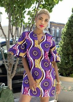 Wear our lovely Eya modern African dress for a colorful day or night look. This African print dress features fun ruffle sleeves. Order one for your wardrobe! African Print Dresses, African Fashion Dresses, African Dress, Fashion Outfits, African Outfits, Fashion Tips, Womens Fashion, Fashion Trends, African Fashion Designers