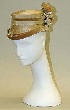 "Silk satin and velvet hat, French, ca. 1864. Label: ""M. Paris"""