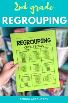 This is an editable choice board focused on 2nd grade REGROUPING: addition and subtraction within 100. Activities are based on 2nd grade Common Core math standards, but you can edit to fit the needs of your classroom. 18 unique tasks were designed to engage your students while also reinforcing regrouping content with this worksheet alternative. #regrouping #2ndgrade #secondgrade #math