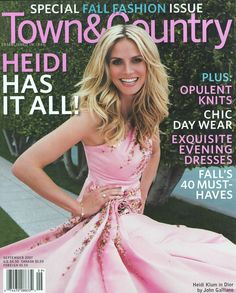 Town & Country september Heidi Klum - the Fashion Spot Fall Dresses, Evening Dresses, Prom Dresses, Town And Country Magazine, Becoming An American Citizen, Fancy Schmancy, Cover Model, John Galliano, Heidi Klum