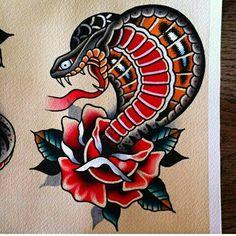 Traditional Tattoo Prints, Traditional Tattoo Inspiration, Traditional Snake Tattoo, Traditional Tattoo Flowers, Traditional Tattoo Old School, Skull Sleeve Tattoos, Best Sleeve Tattoos, Old Tattoos, Black Ink Tattoos