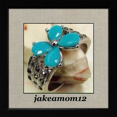 🌟HP x2🌟Aqua/black marcasite ring Sterling overlay Aqua blue and black marcasite ring. Jewelry Rings
